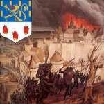 Blason de la ville sur fond de bataille et d'incendie